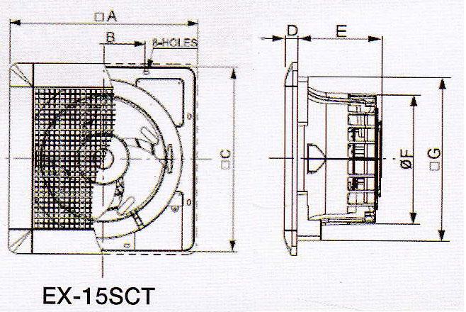 bản vẽ lắp đặt quạt hút âm trần EX-15SCT