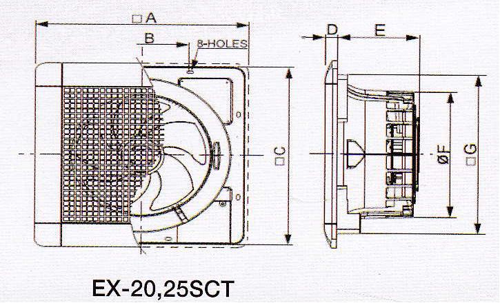 bản vẽ lắp đặt quạt hút âm trần EX-20SC5T