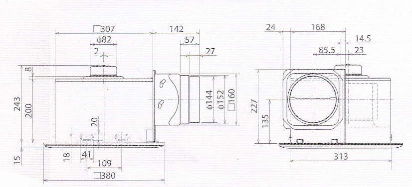 kích thước quạt hút âm trần VD-20Z4T3