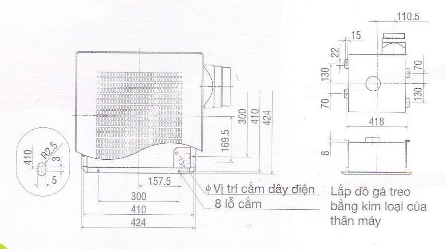 bản vẽ lắp đặt quạt âm trần VD-23ZP4T3