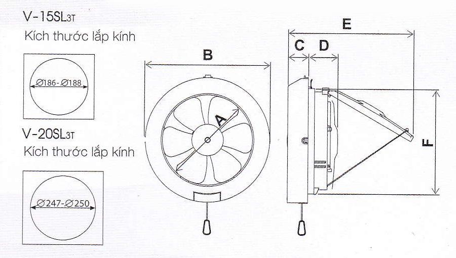 bản vẽ lắp đặt quạt thông gió ốp vách kính V-20SL3T
