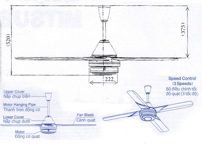 Thông số kỹ thuật quạt trần Mitsubishi C56-RQ4